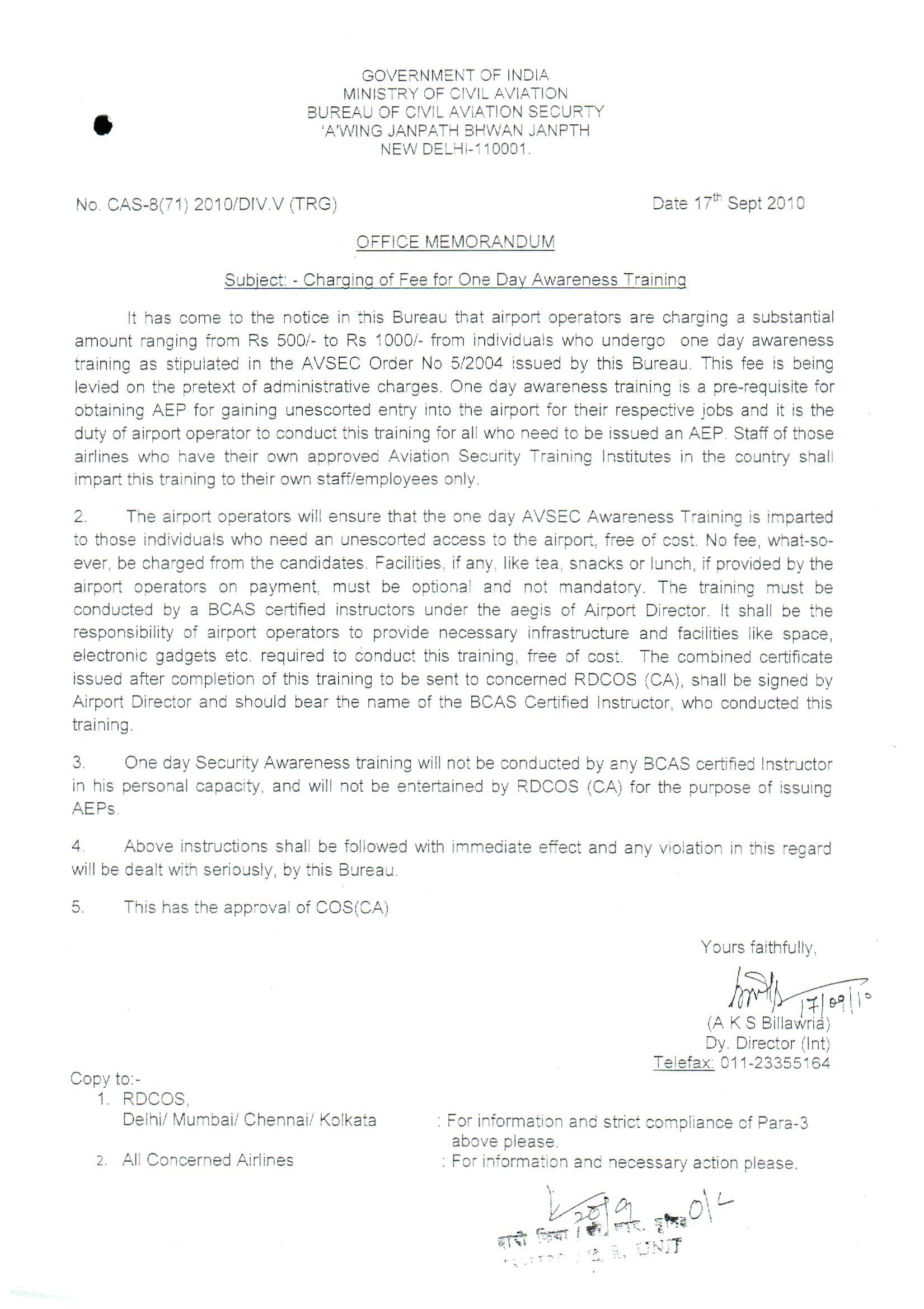 bcas avsec training office memorandum charging of fee for one day awareness training